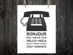 Namaste Home Decor Hello Bonjour Ola Hola Phone Print Phone Art Hello Art Home