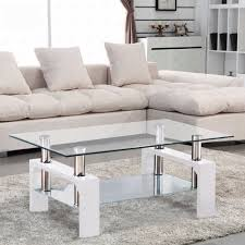 Livingroom Table by Amazon Com Virrea Rectangular Glass Coffee Table Shelf Chrome