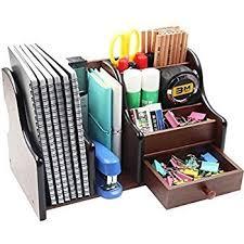 lukzer multi functional wooden desk organiser pen stand pencil