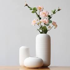 Vase Table L Set Of 3 Minimalist Linear Design Vases White Porcelain Flower