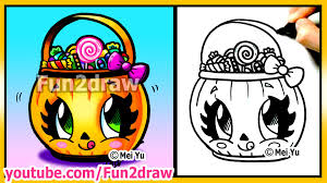 cute candy bucket how to draw halloween easy stuff pictures