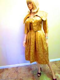 vintage cocktail party 1950 u0027s vintage couture gold dress u0026 jacket lame lurex 2 piece