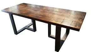 Reclaimed Wood And Iron Dining Table Incredible Reclaimed Wood Dining Table With Metal Legs Also Top