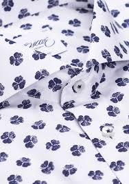 white dobby texture shirt with shamrock print slim fit shirt