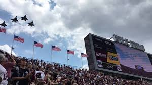 Aggie Flag F 22 Raptors Fly Over Kyle Field Aggies V S Bruins 2016 Youtube
