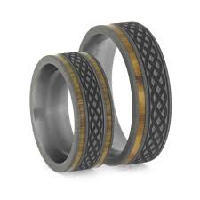 wood rings wedding knot wedding band set oak wood and olive wood rings in titanium
