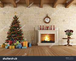 vintage living room christmas tree gift stock illustration