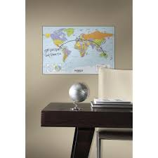 roommates 27 in world map dry erase peel and stick giant wall