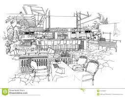 interior architecture construction landscape sketch royalty free
