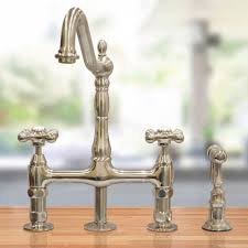 randolph morris bridge style kitchen faucet with metal cross