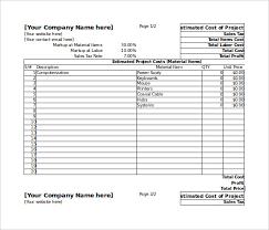 Estimate Worksheet Template estimation template excel dtk templates