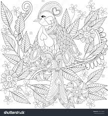 exotic tropical zentangle bird sitting on stock vector 552113449
