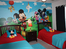 mickey mouse kids table bedroom twin kids bedroom with red bed and blue pillows also dark