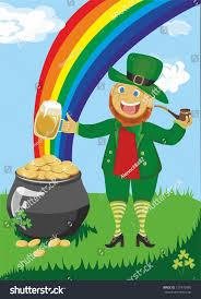 leprechaun pipe beer against rainbow pot stock vector 127470995