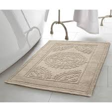 Taupe Bathroom Rugs Jean Cotton Stonewash Medallion 17 In X 24 In Bath Rug In