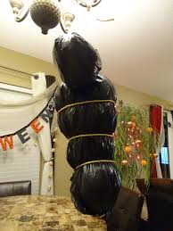 halloween body bag prop decoration made with trash bag