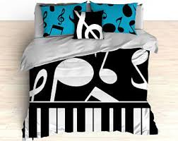 music themed queen comforter music notes bedding etsy