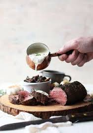 garlic and herb beef tenderloin recipe with roasted mushrooms