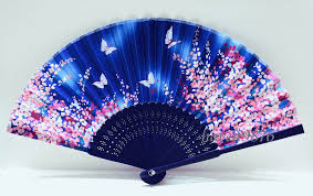 folding fans silk japanese fan light blue folding fan yukata accessory