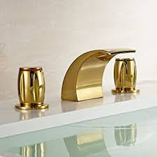 Amazon Bathroom Sink Faucets by Gold Brass Waterfall Bathroom Sink Faucet Double Knobs Widespread
