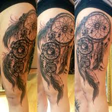 dreamcatcher sleeve tattoos dream catcher black and grey side thigh tattoo for autism