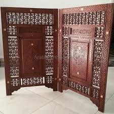 furniture vintage hand carved moroccan room divider 2 panels