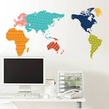 Self Adhesive World Map Decorating Online Shop New Product Colorful World Map Wall Stickers Self