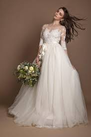 plus size wedding dresses uk sheer scoop neck appliqued lace sleeves bridal gown with