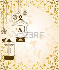 vintage background with ornamental birdcages and birds stock photo