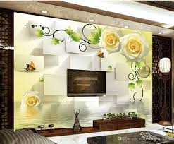 3d Wallpaper For Living Room by Yellow Rose Background Wall Picture Butterfly Background Mural 3d