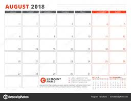 Calendar Template for 2018 Year August Business Planner 2018
