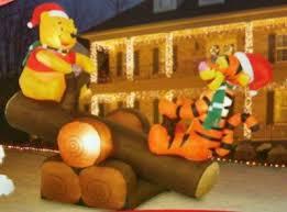 Air Blown Christmas Decorations Amazon Com Disney Christmas 5 U0027 Winnie The Pooh U0026 Tigger Log