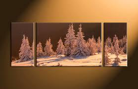 3 piece brown landscape sepia snow large canvas