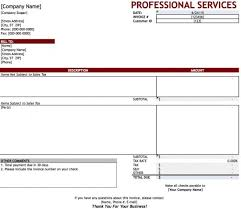 Service Invoice Template Excel Free Professional Services Invoice Template Excel Pdf Word