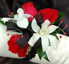 black and white corsage sweetheart and white orchid corsage black