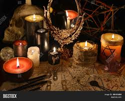 halloween text symbols mystic still life with magic mirror demon paper and candles