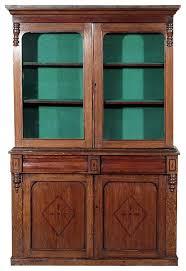 antique oak victorian bookcase curio cabinet traditional home