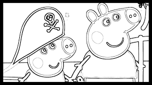 peppa pig and family boat trip drawing and coloring book pages for