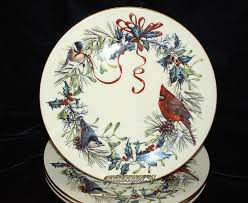 lenox winter greetings 6 dinner plates china birds