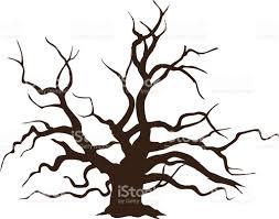 Oak Tree Drawing Big Oak Tree Without Leaves Vector Illustration Stock Vector Art