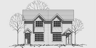 House Plans Small Lot Craftsman Style Duplex With Boxed Windows Compact Floor Plan