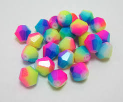 20 rainbow glass bicone beads spray paint mix colors 8mm loose