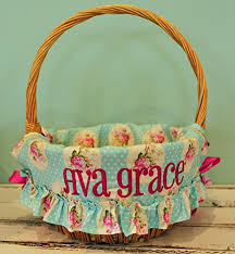 personalized easter basket personalized easter basket liner ruffled cameo