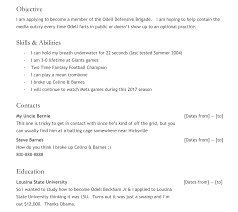Best Resume I Have Ever Seen by I Accidentally Started A Cult To Protect Odell Beckham Jr From