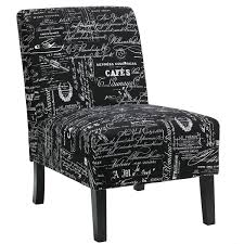 Black Accent Chair Cortesi Home Chicco Black Script Fabric Armless Accent Chair