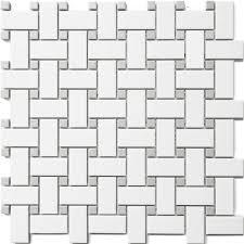 basket weave ceramic glossy white bathroom tile
