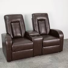 eclipse series 2 seat reclining brown leather theater seating unit