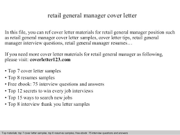 General Resume Cover Letter Samples by Retail General Manager Cover Letter