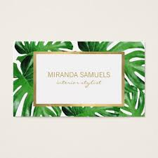 watercolor tropical monstera leaves pattern business card zazzle