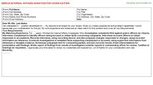 internal affairs investigator cover letter